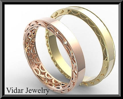 His And Hers 14K Yellow And Rose Matching Wedding Bands Set by Roi Avidar