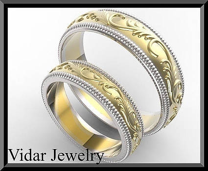 His And Hers 14K Yellow And White Gold Matching Wedding Bands Set by Roi Avidar