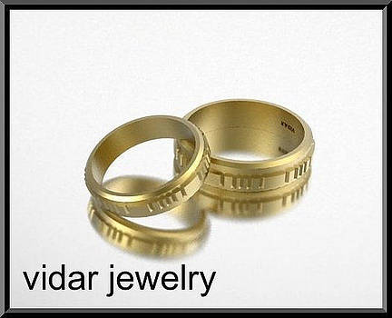 His And Hers 14K Yellow Gold Matching Wedding Bands Set by Roi Avidar