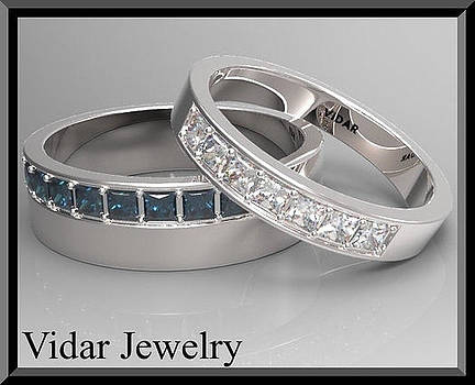 His And Hers Blue Sapphire And White Diamond Matching Wedding Bands by Roi Avidar