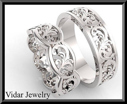 His And Hers Leaf 14K White Gold Matching Wedding Bands Set by Roi Avidar