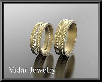 His And Hers Matching 14kt Yellow Gold Diamond Wedding Bands Set  by Roi Avidar