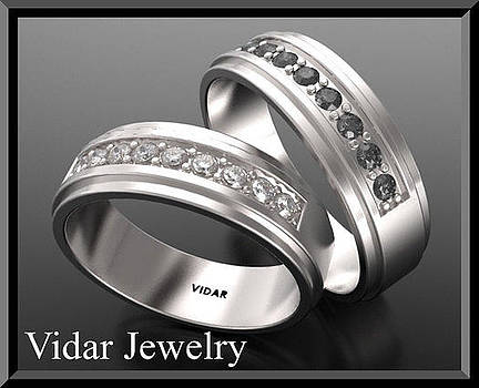 His And Hers Matching Black And White Diamond 14k Wedding Band Set by Roi Avidar