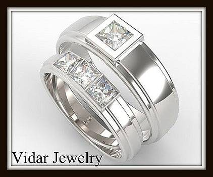 His And Hers Matching Diamond 14kt White Gold Wedding Band Set by Roi Avidar