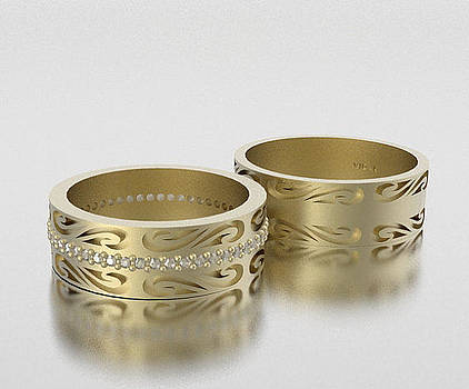 His And Hers Matching Diamond And 14k Yellow Gold Wedding Band Set by Roi Avidar