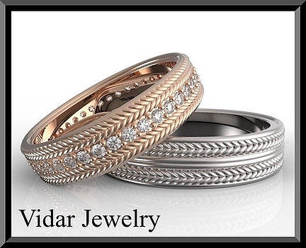 His And Hers Matching Diamond And 14kt Gold Wedding Band Set  by Roi Avidar