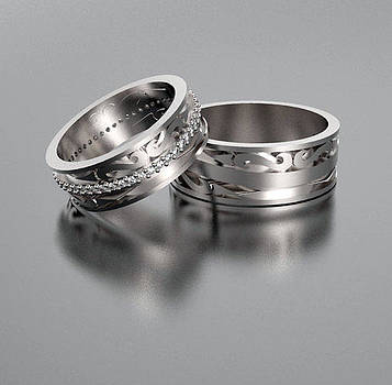 His And Hers Matching Diamond And 14kt White Gold Wedding Ring Set by Roi Avidar
