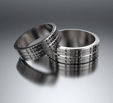 His And Hers Simple 14K White Gold Matching Wedding Bands Set by Roi Avidar