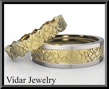 His And Hers Two Gold Tone Lotus Flower Wedding Band Set by Roi Avidar