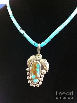 Hitachi Turquoise  Heishi Pendant by Joseph Mora