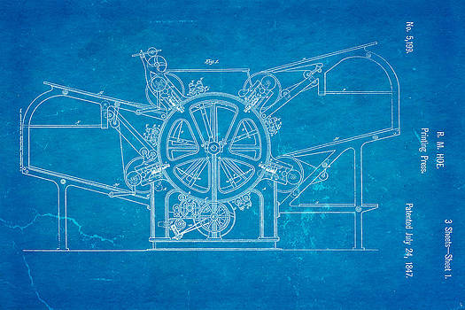 Ian Monk - Hoe Printing Press Patent Art 1847 Blueprint