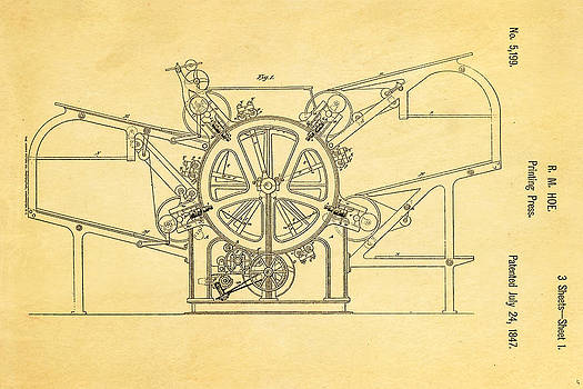Ian Monk - Hoe Printing Press Patent Art 1847