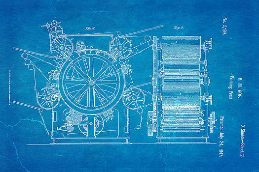 Ian Monk - Hoe Printing Press Patent Art 2 1847 Blueprint