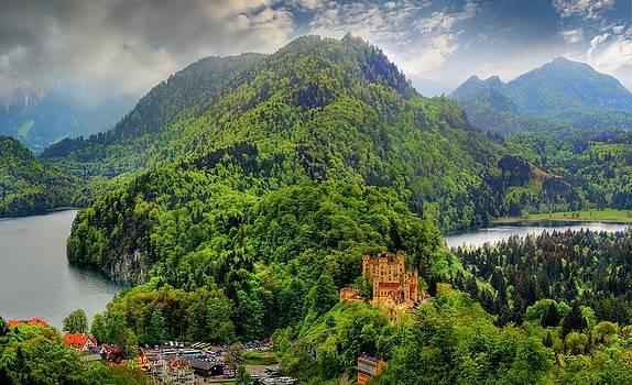 Hohenschwangau Castle In Bavarian Alps Germany by Julia Apostolova