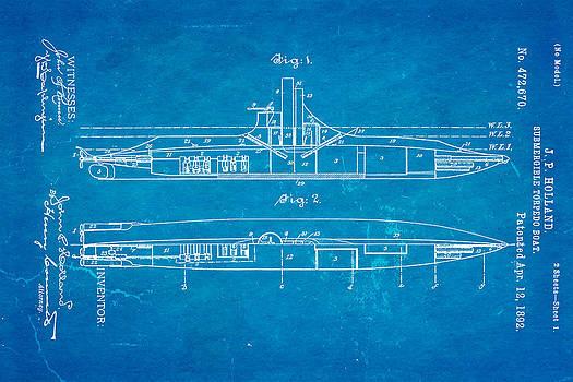 Ian Monk - Holland Submarine Patent Art 1892 Blueprint