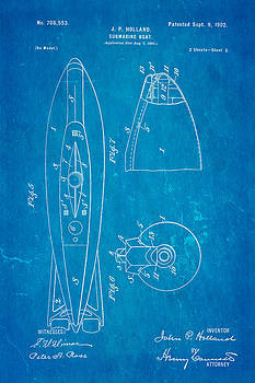Ian Monk - Holland Submarine Patent  Art 2 1902 Blueprint