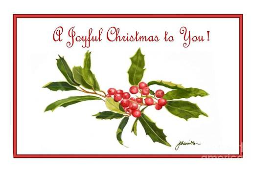 Holly Berries Note Card by Joan A Hamilton