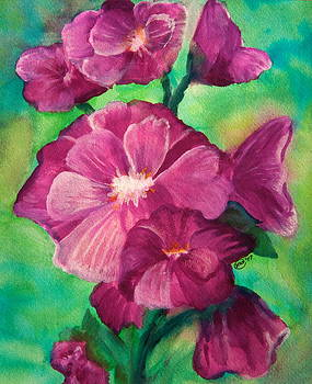 Hollyhocks by Anne Kibbe
