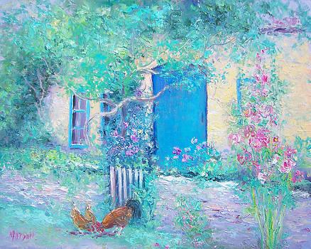 Jan Matson - Hollyhocks garden