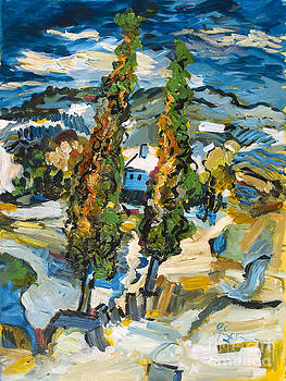 Ginette Callaway - Homage to Van Gogh Two Poplars on a Road Through the Hills
