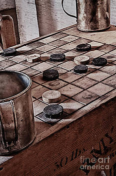 Homemade Checkers and Table by Robert Gaines