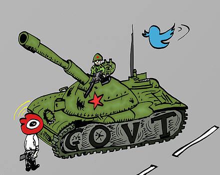Homme face aux chars caricature des medias sociaux en Chine by OptionsClick BlogArt