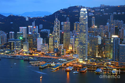 Hong Kong Skyline at Night by Lars Ruecker