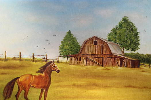 Horse in a pasture by Christine McMillan