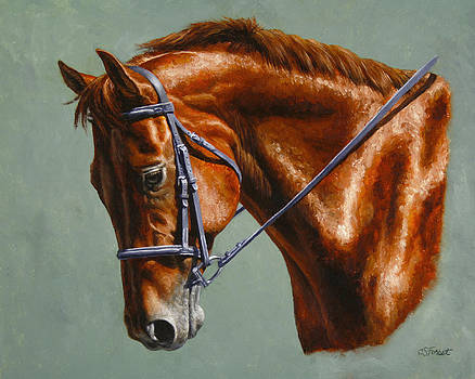 Horse Painting - Focus by Crista Forest