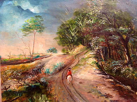 Horseman riding on a road by Egidio Graziani