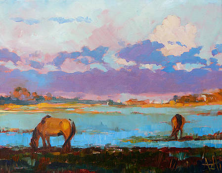 Horses on Carrot Island by Azhir Fine Art