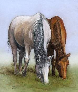 Horses Quietly Grazing by Sharon Challand