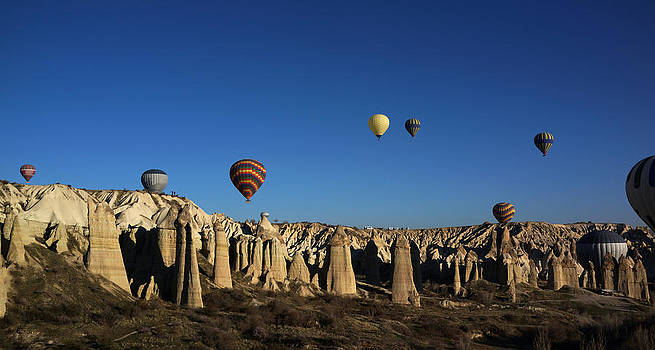 Hot air balloons in Cappadocia Turkey by Julie VanDore