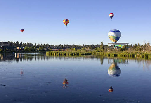 Hot Air Balloons Over River by Ginger Sanders