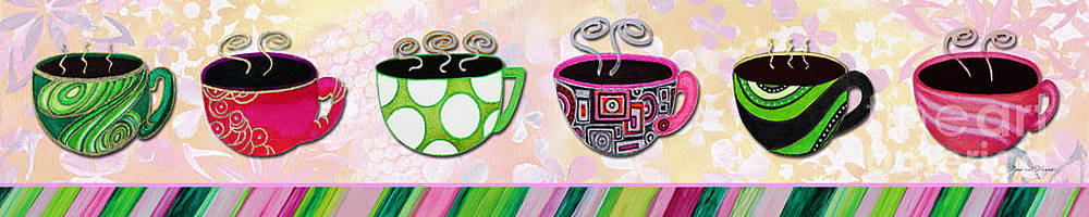 Hot Cuppa Mugs Cups Whimsical Pop Art Tea Party by Romi and Megan by Megan Duncanson