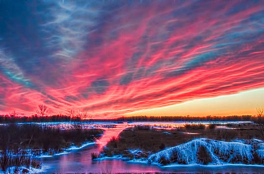 Hot Pink Frozen Sunset by Beth Sawickie