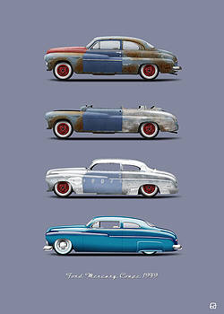 Hot Rod Sequence Mercury Coupe 49 Bkg Blue gray by Gorka Aranburu