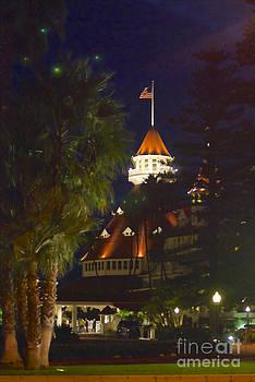 Hotel Del Coronado At Night by Claudia Ellis