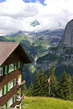 Pam  Elliott - House and Mountain in Gimmelwald Switzerland