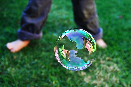 House reflection in soap bubble  by View Factor Images