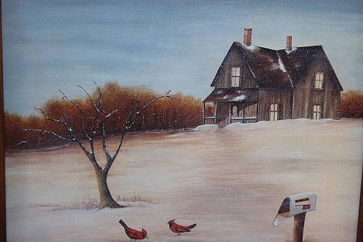 House with Red Birds by Christine McMillan