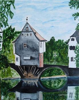 Houses on a bridge in Bad Kreuznach in Germany by Christine Huwer