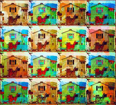 Houses Pop Art Neon by Kevin Moore
