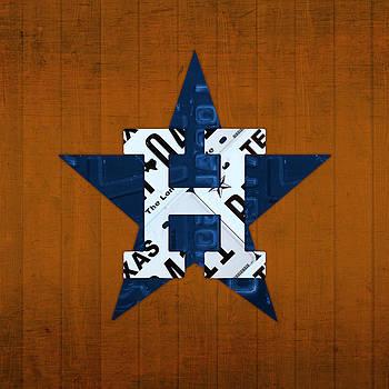 Design Turnpike - Houston Astros Baseball Team Vintage Logo Recycled Texas License Plate Art