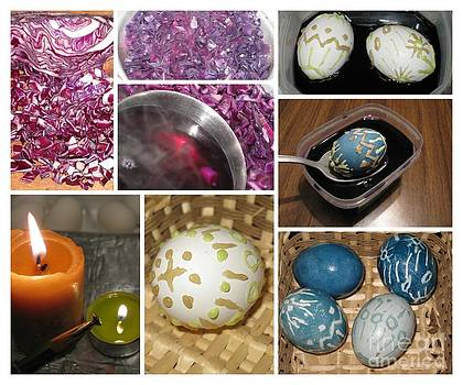 How To Decorate Easter Eggs With Wax and Cabbage Dye. Collage Series by Ausra Huntington nee Paulauskaite