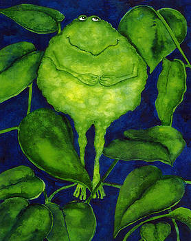 Hubbs Children Art Folk Prints Whimsical Animals Green Pond Frogs Toad by Debi Hubbs