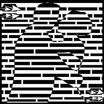 Hugging Couple Maze by Yonatan Frimer Maze Artist