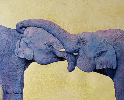 Hugging Elephants by Sharon Farber