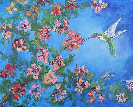 Humming bird with flowers by Carolyn Speer