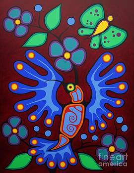 Hummingbird and Butterfly by Jim Oskineegish